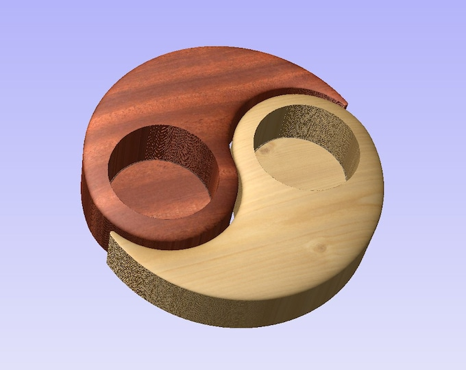 Stl 3d model of tealight holder yin-yang for cnc carving vectric aspire cut3d artcam 3d printer
