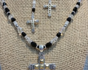 Cross Necklace Set, Cross Earrings and Necklace Set