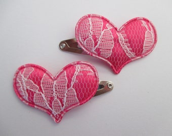 Baby/Toddler/Child Snap Hair Clip Set of 2 -  30 mm - 3 cm - Lace Hearts - Shocking Pink
