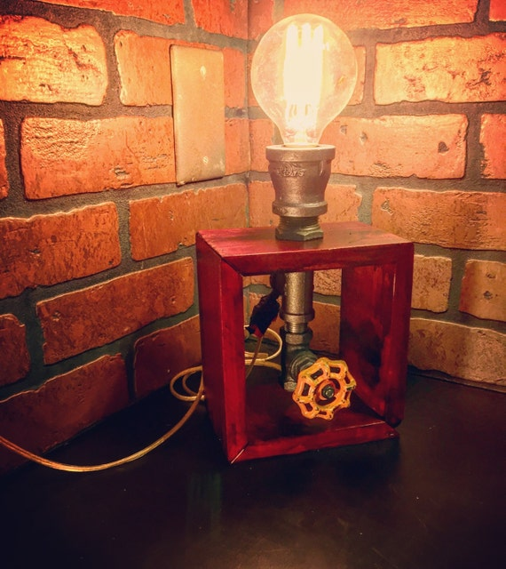 Steampunk Industrial Wooden Box Table Lamp With On/off Valve