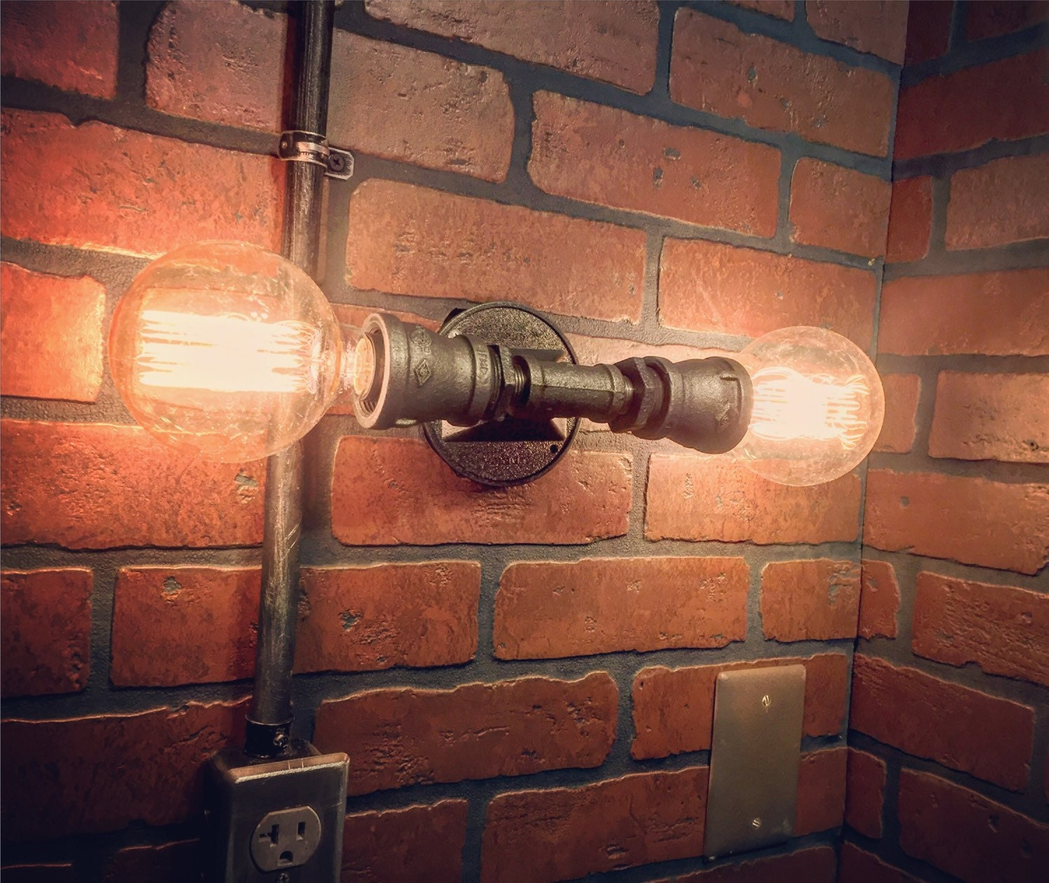 Steampunk Double Streamline Wall Sconce industrial light. Cast