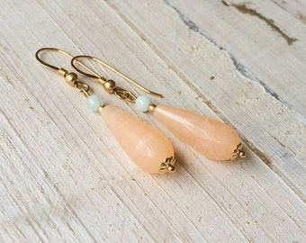 Golden peach quartz earrings, 14 k goldfill earrings with peach quartz pace/drop and Amazonite, Bridal earrings