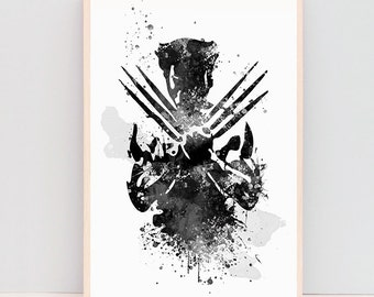 SALE! Wolverine watercolor poster, x men prints, gifts for him, boyfriend birthday gifts, wall art, christmas gifts, superhero art ET385