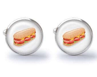 Hoagie Sandwich Cufflinks - Sub Sandwich Cufflinks - Sandwich Cuff Links - Food Cufflink (Pair) Lifetime Guarantee (S0231)