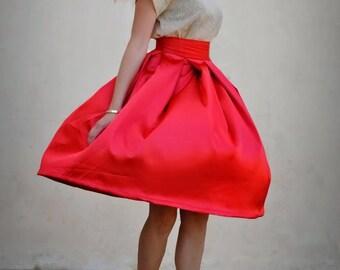 Jupe rouge Midi jupe pour femme rouge jupe plissée pleine jupe jupe de soirée demoiselle d'honneur que Custom made jupe rouge Bureau jupe automne rouge jupe Retro