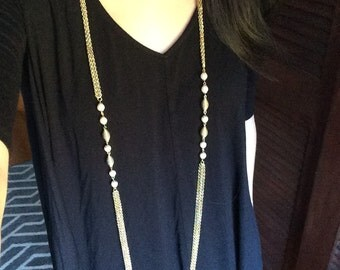 Gold/Pearl Necklace (Long)