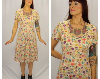 FANCY FLOWERS Vintage 1960's Floral Print Dress Mod