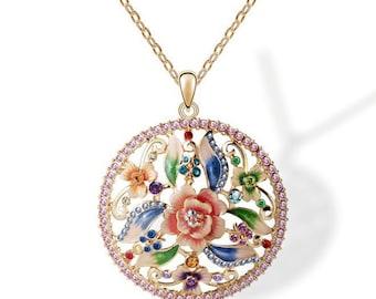 Enamel Flower 18K Gold Crystal Pendant Necklace