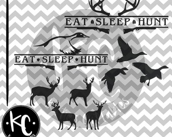 Eat Sleep Hunt Deer, Eat Sleep Hunt Duck .SVG/.EPS/.PNG File