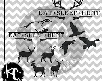 Eat Sleep Hunt Deer, Eat Sleep Hunt Duck .SVG/.EPS/.PNG File