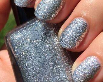 "True Silver"" Silver Glitter Nail Polish - Full size 15ml Bottle."
