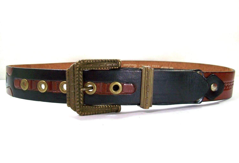 vintage brown leather belt leather gift vintage leather belt