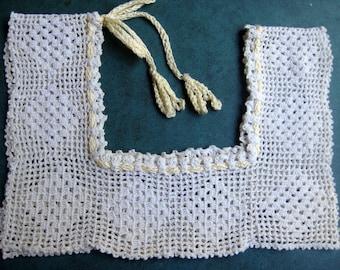 "A Child's Nightgown Dress Top Hand Crochet 13"" x 4 1/2"" Gathered Neckline"