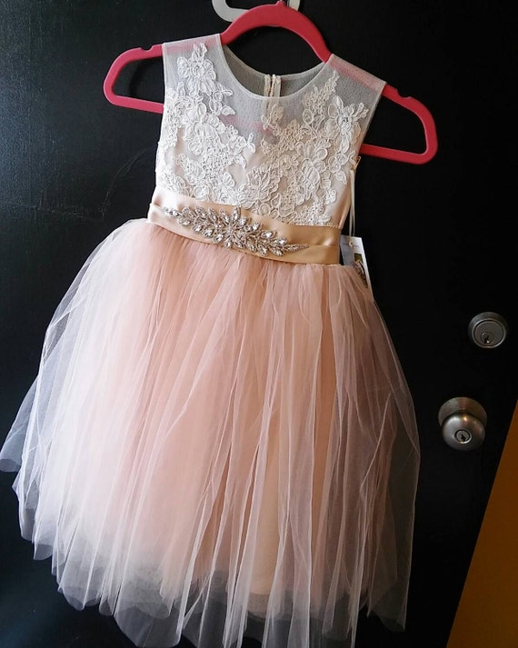 Champagne Blush Flora Flower Girl Dress With