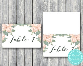 Wedding Table Numbers Printable, Tent Style Table Number Sign, Wedding Table Numbers - Digital File, DIY Print TG04 WD11 W00
