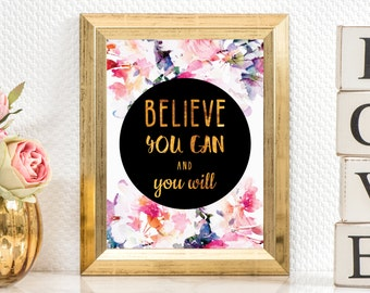 Typography art print, Printable wall art, Wall Decor, Inspirational print, Typography quote, Gold text print, Motivational poster