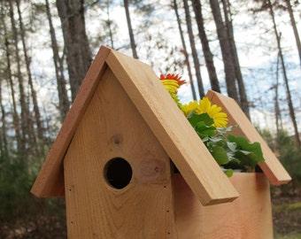 Double Cedar Birdhouse with Planter