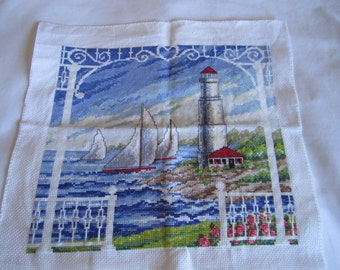 Completed cross stitch--Hand stitched bay view