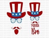 SVG Merica Bro Uncle Sam 4th of July SVG Clip Art Patriotic Cut File dxf eps Digital File Silhouette Circuit Cut Commercial Use