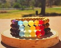 Chakra Bracelet, 7 Chakra Bracelet, 7 Chakra Wood Bracelet, Natural Materials, Semi-Precious Gemstone Beads, Yoga Bracelet