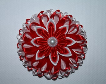 Valentine's Day/School/Party Handmade Girl's Flower hair clip - red and white