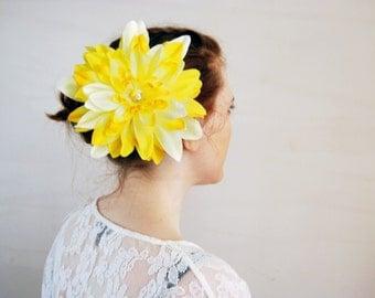 Bright Yellow Flower Hair Clip