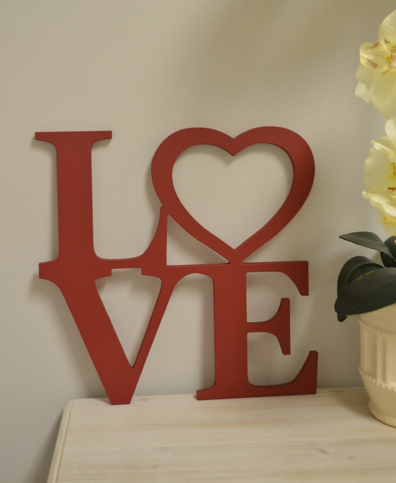 Love wood sign sign love valentine decor custom made home for Love sign
