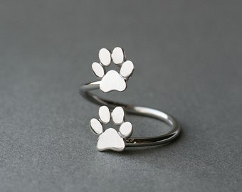 Adjustable Spiral Paw Ring / Double Paw Ring / Silver, Gold Plated or Rose Plated.