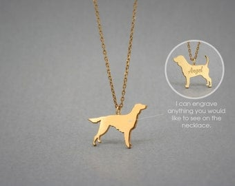 14K Solid GOLD Tiny IRISH SETTER Name Necklace - Setter Necklace - Gold Dog Necklace - 14K Gold or Rose Plated on 14k Gold Necklace