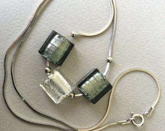 Sterling Silver and Silver Grey Satin Dichroic Glass Bead Necklace