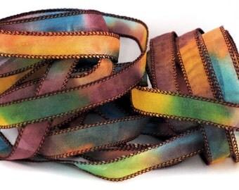 Hand dyed silk ribbon habotai