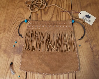 LEATHER BAG - tribal inspired hand stitched brown bag with fringe