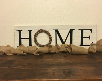HOME wreath sign