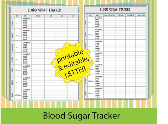 Blood Sugar Tracker,Blood Sugar Log, Diabetic - Printable/ Editable ...