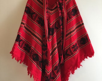Equadorian red patterned poncho