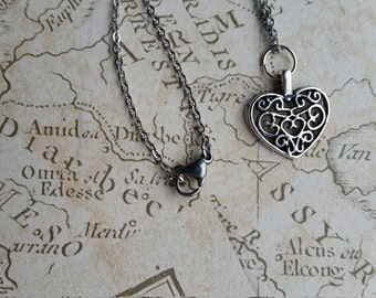 Heart Necklace, Silver Heart Necklace, Antique Silver Heart Necklace, Small Heart Necklace, Heart Pendant, Small Silver Pendant, Love Heart,