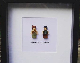 I love you I know Star Wars Princess Leia & Han Solo Lego Replica Wedding Anniversary Gift Personalised Wall Art Box Frame Picture Gift