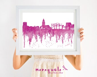 GIJON Skyline Dark PINK hues, watercolor, skyliner Gijon, Asturias, Spain art print, poster Espagne gift decoration city Xixón Espanha