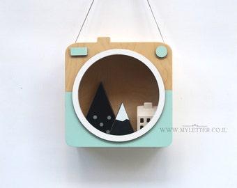 nursery camera | camera shelf | wooden camera | nursery decor | nursery shelf | camera shape