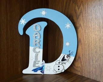 Handmade Personalised Girls  Bedroom Door Sign Plaque Custom Charcters Elsa Anna Olaf Frozen Custom With Name