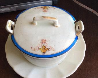 Antique KPM 1800's Covered Sauce Bowl