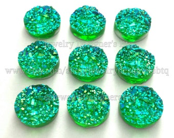 12mm Faux Druzy Resin Cabochons Iridescent Green Crystal Kawaii Cabochon Jewelry Findings Crafting Supplies DIY Earring Necklace Bracelet