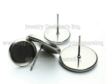 WHOLESALE 8mm 100pcs Hypoallergenic Surgical Stainless Steel Bezels Sensitive Skin High Quality Earring Findings DIY Jewelry Supply