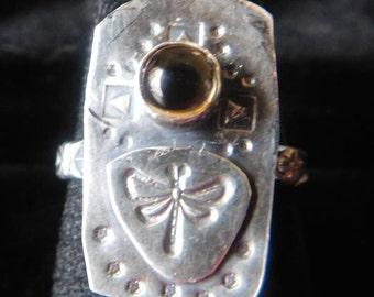 Citrine Dragonfly Ring