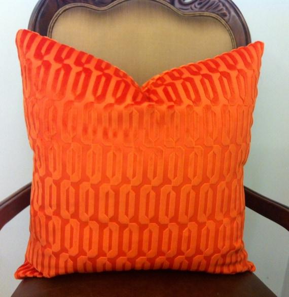 Orange Velvet Throw Pillows : Orange Decorative Pillows Orange Velvet Pillow by artdecopillow