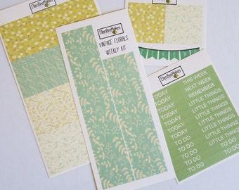 Vintage Florals Weekly EC/Happy Planner Sticker Kit