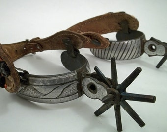 Antique Rare Fancy Mexican Spurs with Matching Overlay Silver and Large Wheels