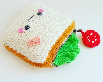Wallet Sandwich sandwich Ham Cheese salad tomato Amiguruni Kawaii Dinette Handmade in France 100% crochet cotton vegan