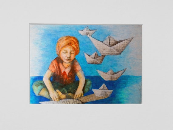 For book lovers: Paper boat, art print, literary gift, children's room, ship, gift for bookworms, acrylic painting, book lover art, for boys
