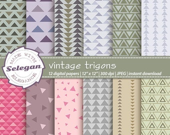 "triangle print ""Vintage Trigons"" digital scrapbook paper printable trigonometry geometric background instant download"